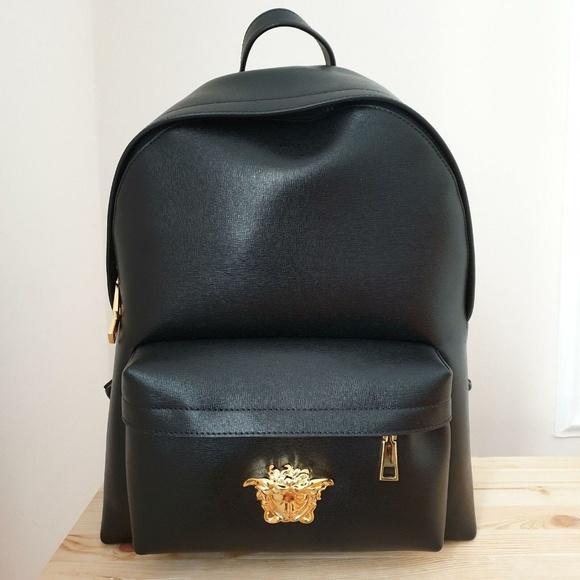 75b93e07e Versace Bags | Saffiano Palazzo Medusa Backpack Black | Poshmark